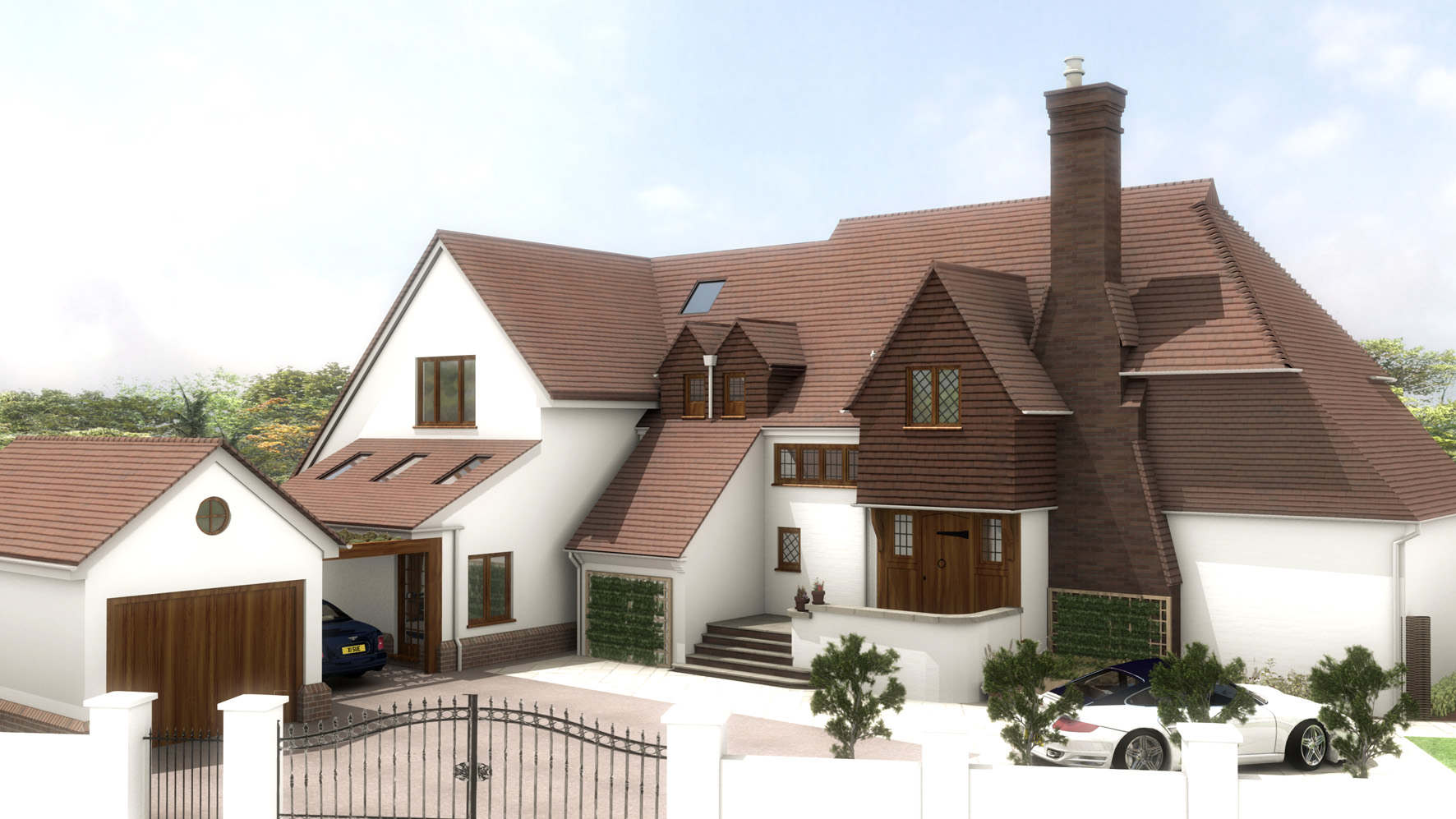 Front elevation view illustrating new garage and seamless blending of the existing house with the proposed extension.